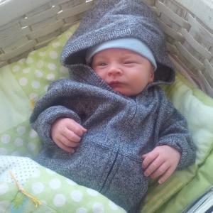 James in a basket 3 weeks old