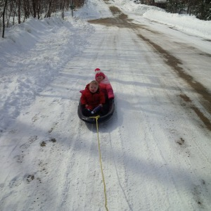 Emma and James sled in Tremblant